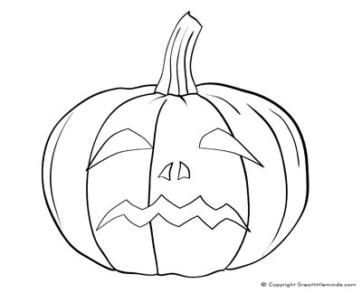 halloween small coloring pages   Pumpkin Face Colouring