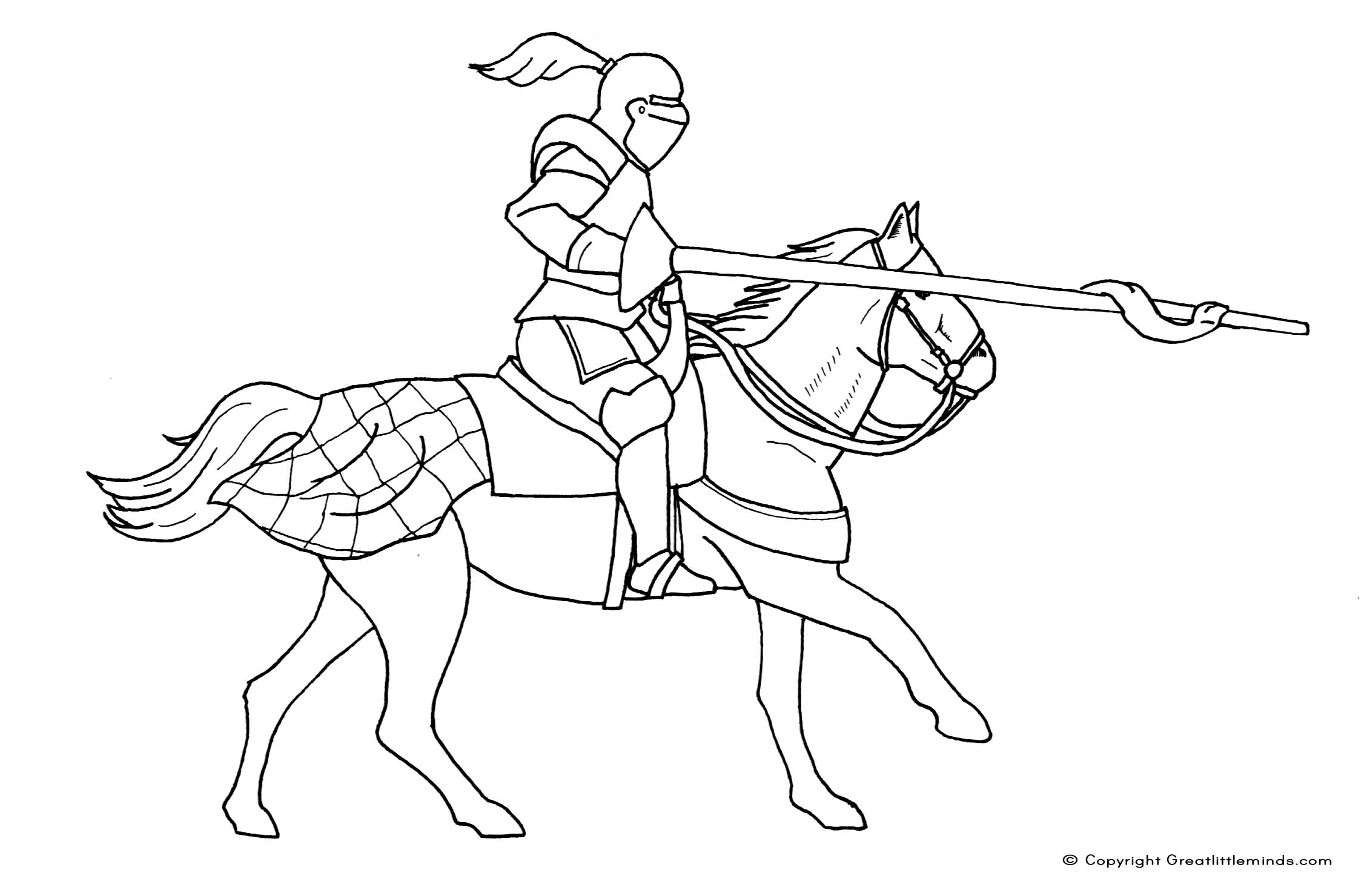 Free Coloring Pages Knights : Free coloring pages of knights jousting