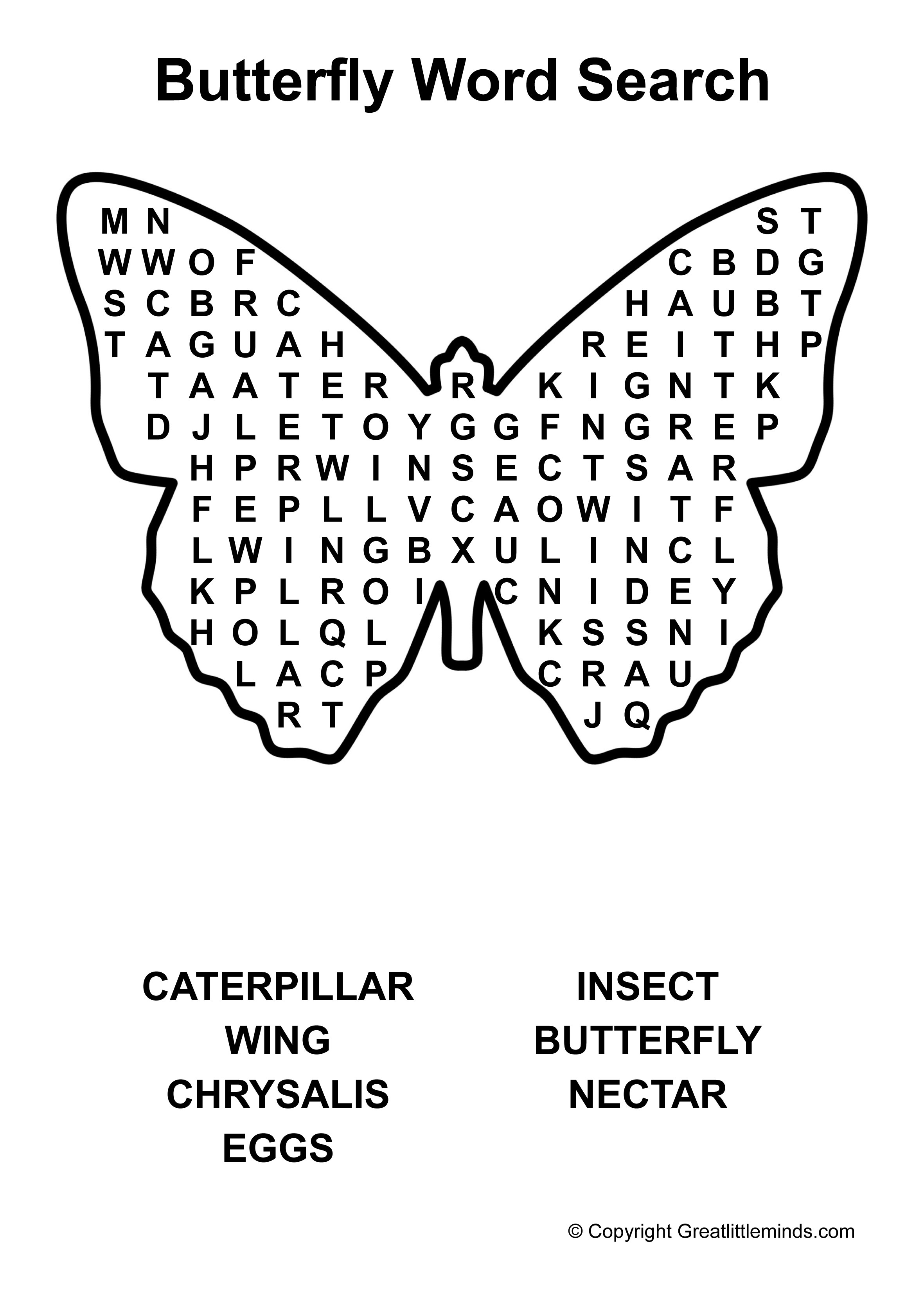 Butterfly Word Search | Word Search | Free printable word ...